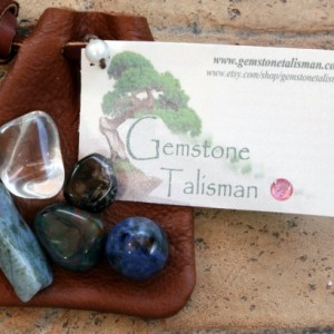 Talisman for Athletes - Natural Gemstones in a Leather Pouch
