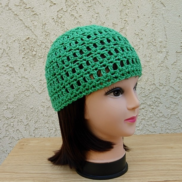 Solid Green Cotton Summer Lightweight Crochet Beanie Hat Aftcra
