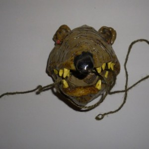 Handmade Clay Hanging Rat Floss Toothbrush Holder Artist Judhe Jensen of Topeka Kansas