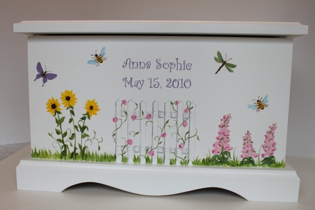 Garden of Flowers baby keepsake chest memory box personalized baby gift