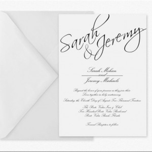 Calligraphy Wedding Invitation, Modern Typography Wedding Invite, Printed Invitation, Black and White, Customized, Deposit