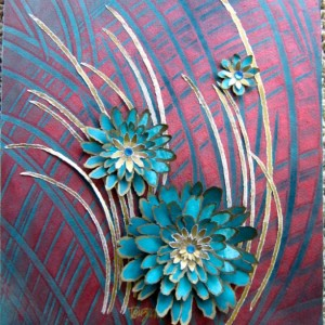 Torn Paper- Teal & Copper Straw Flowers  11 X 14