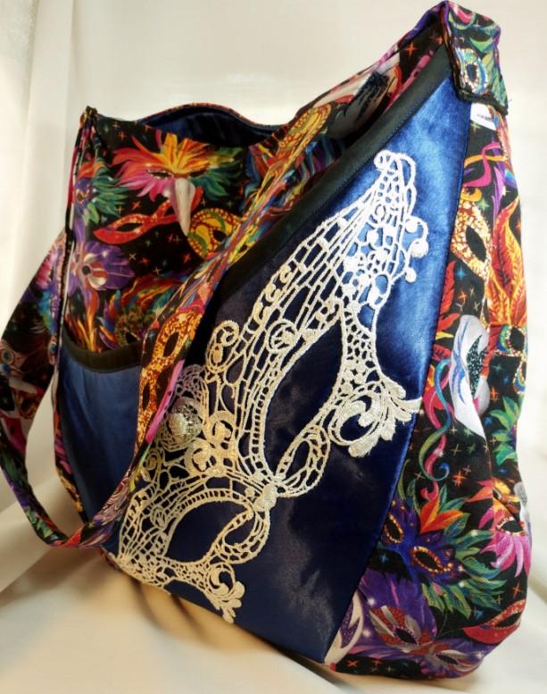 Masquerade Collection Oval Messenger Bag - Mask Mardi Gras print - multicolor