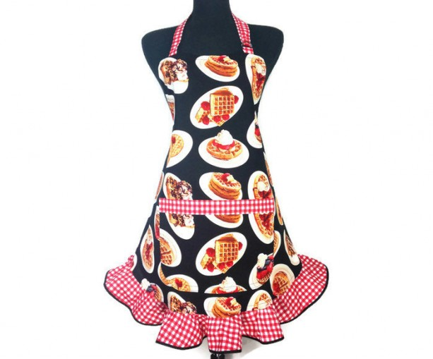 Retro Style Kitchen Apron for Women , Berries and Waffles with Red and White Check Ruffle