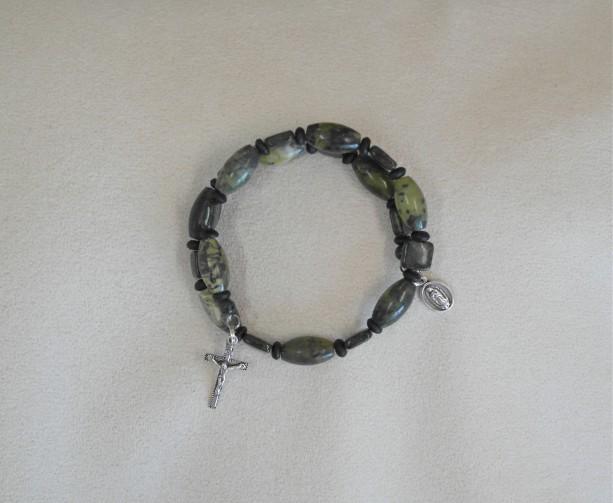 One Decade Rosary Bracelet of Serpentine and Kambaba Beads