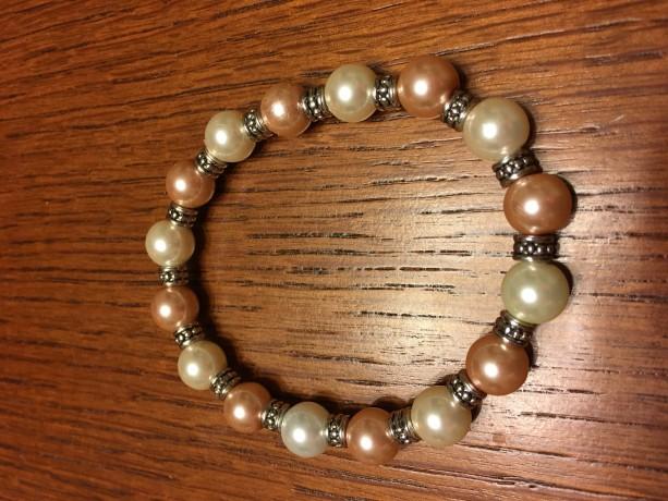White/Pink Pearl Glass Bead Elastic Bracelet