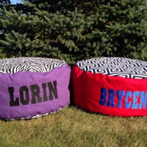 Personalized Poufs~Personalized Beanbags~Handmade Beanbags~Embroidered Beanbags~Child Gifts