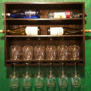 Ebony Stained Wine Rack with Stemmed and Stemless Wine Glass Storage