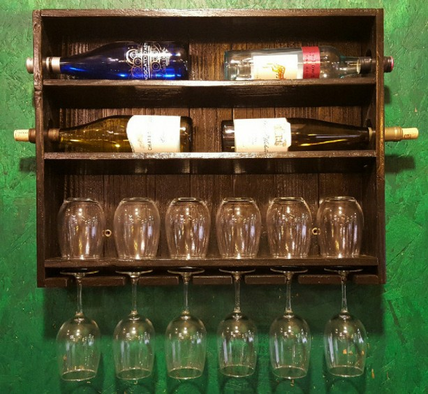 Ebony Stained Wine Rack With Stemmed And Stemless Gl Storage