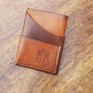Leather Card Wallet Two tone (light brown and dark brown) with brown thread