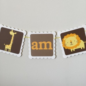 Animal Birthday Banner, Lion and Giraffe Birthday Banner, I am One Banner, Zoo I am 1 Banner, One
