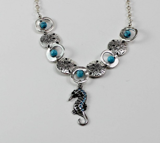 Sea Horse and Sand Dollar Turquoise Necklace