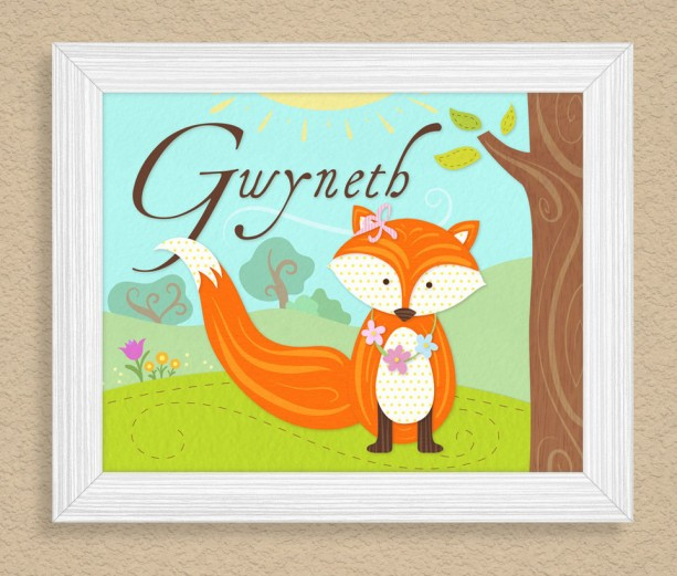 Personalized 8X10 Art Print, Cute Fox, Kids Name Plaques, Fox Wall Art, Girl's Wall Decor