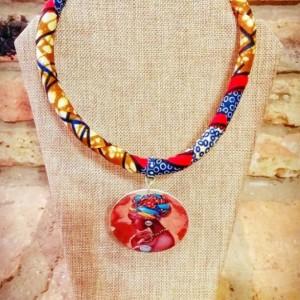 African Queen Ankara Necklace, African Tribal Necklace, Afrocentric African Print Necklace Ankara, Tribal Afrocentric Fabric Rope Necklace