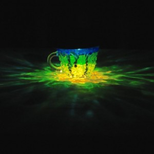HandPainted Solar Luminary Yellow/Green/Blue Punch Cup