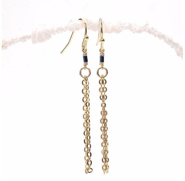 Thin Blue Hematite Tube Tassel Earrings