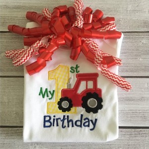 Tractor 1st Birthday Appliqué Shirt or Bodysuit, First Birthday Shirt, Farm Theme Birthday Shirt