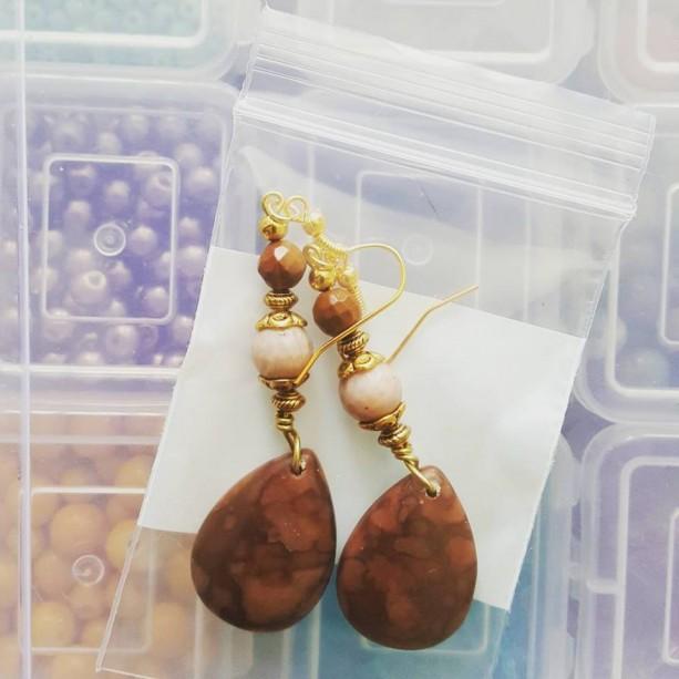 Rhodonite & Zebra Stone Earrings A03434