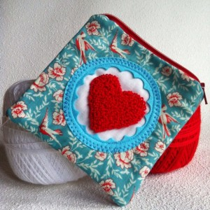 Square bird love zipper pouch with needle punch embroidery