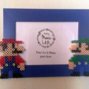 4x6 Picture Frame with Perler Made Mario & Luigi- Geekery- Nerd Love- Retro-NES- Bros