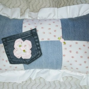 Girls Baby Pink Floral Denim Patchwork Blanket Set