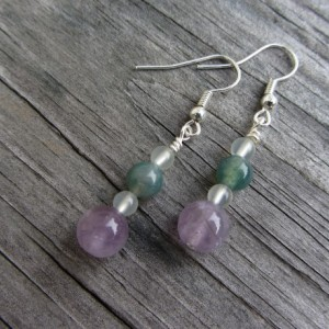 Amethyst Earrings, Jade Earrings, Moss Agate Earrings, Stone Earrings, Gemstone Earrings, Dangle Earrings