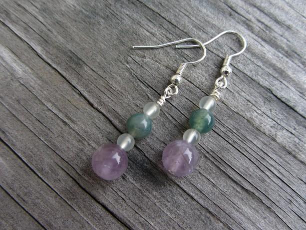 Amethyst Earrings, Jade Earrings, Moss Agate Earrings, Stone Earrings, Gemstone Earrings, Dangle Earrings