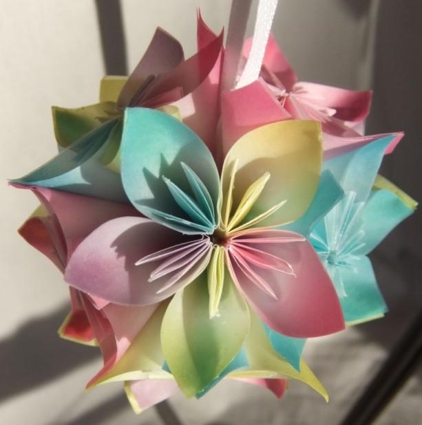 Pastel origami christmas ornament aftcra origami small flower ornament pastel ornament christmas tree ornament decorative fan pull mightylinksfo