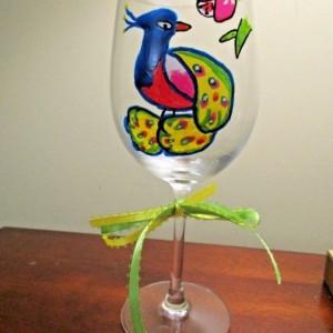 Painted Wine Glass Folk Art PEACOCK 12 oz.