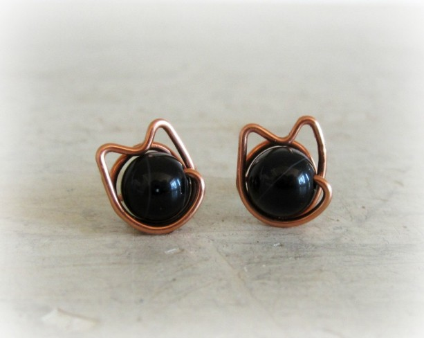 Black Cat Stud Earrings Copper Wire Wred Posts Onyx Studs