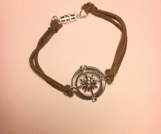 Brown Leather Bracelet, Charm Bracelet with Compass Charm, Compass Bracelet