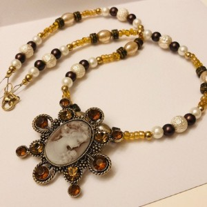 Beaded Cameo Necklace