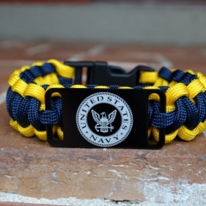 US Navy Paracord Bracelet w/ Black Plastic Buckle