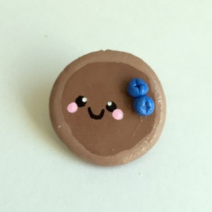 Brooch Blueberry Pancake Clay Pin Kawaii Artisan Jewelry