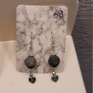 Black and white bead with heart charm earrings