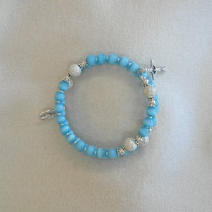 Rosary Bracelet of Blue Beads and Silver Plated Findings and Medals