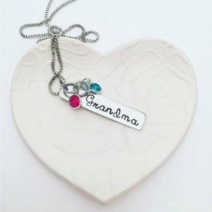 Custom Hand Stamped Birthstone Necklace for Memaw - Grandmother Gift - Hand Stamped Jewelry - Grandmother Necklace - Gifts for Memaw