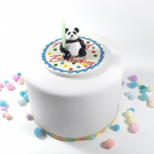 Panda with Bamboo Birthday Candle Holder Cake Topper