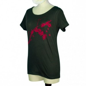 Black Blossoms, Bird Organic Bamboo Women's Scoop Neck Screen Printed T-Shirt, Gifts For Her, Made in USA, Sustainable