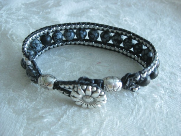 Leather beaded cuff bracelet in silver and black Wrap bracelet, designer look