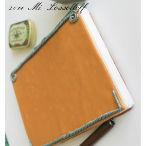Handmade Clay Cover Hand-Sewn Journal 5.5 x 4.5 inches