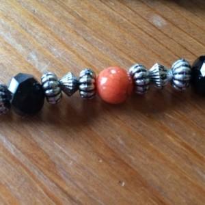 Orange Acrylic, Black Glass Beaded Necklace