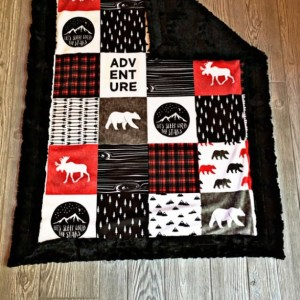 Minky Baby Blanket Mountain Lumberjack Faux Quilt Mountain Arrow Bear Moose Wood Adventure Toddler Childrens