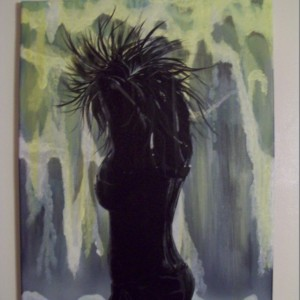 Hot and Cold - Original acrylic painting of waterfall with silhouette of woman in sunshine