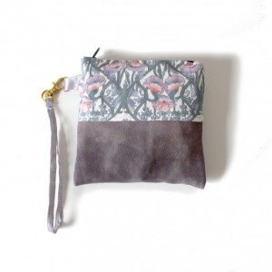 Leather Wallet Wristlet Coin Card Case Zipper Pouch - Purple and Floral - by Katie Gariepy