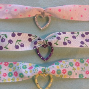 Fruity Flowery Ribbon Rhinestone Heart Charm Chokers