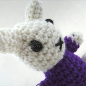 Crochet Bunny White and Purple Plush Amigurumi Toy Easter Basket Filler