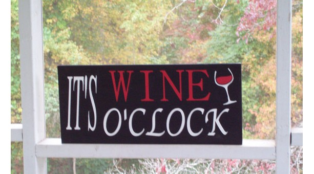 Wood It's Wine O'clock sign hand painted, wood sign, folk art home décor