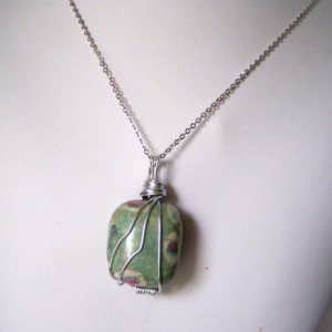Wire Wrapped Ruby in Zoisite Pendant