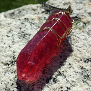 Ruby Red Quartz Resin And Glass Crystal Wire Wrapped Pendant Necklace